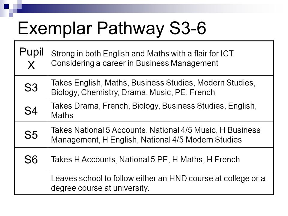 Exemplar Pathway S3-6 Pupil X Strong in both English and Maths with a flair for ICT.