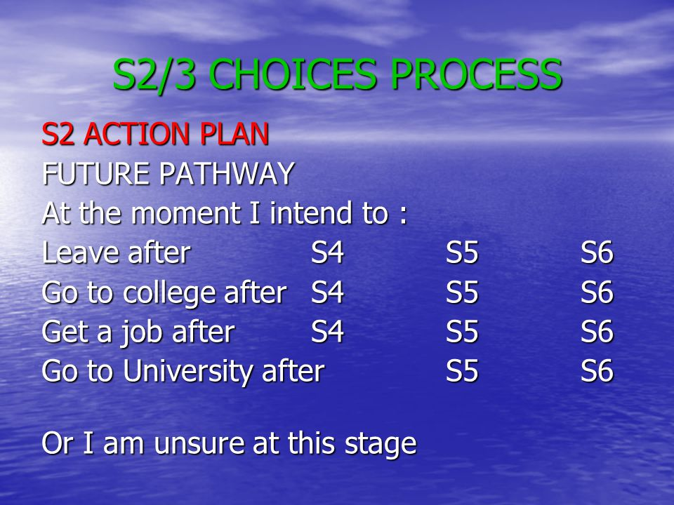 S2/3 CHOICES PROCESS S2 ACTION PLAN FUTURE PATHWAY At the moment I intend to : Leave after S4S5S6 Go to college afterS4S5S6 Get a job afterS4S5S6 Go to University afterS5S6 Or I am unsure at this stage