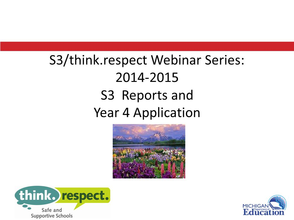 S3/think.respect Webinar Series: 2014-2015 S3 Reports and Year 4 Application