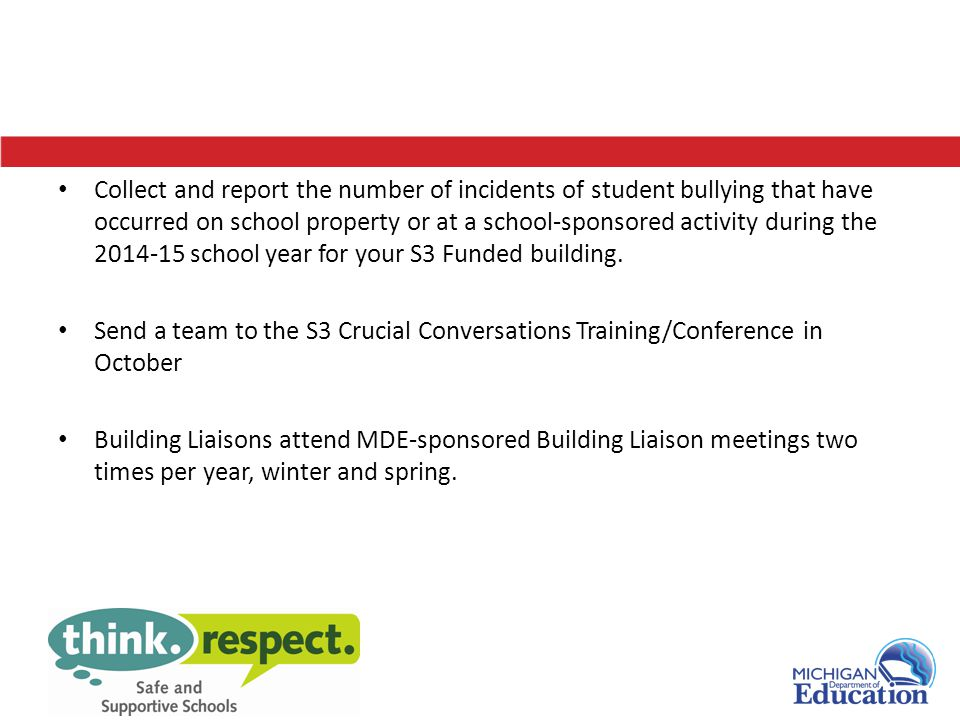 Collect and report the number of incidents of student bullying that have occurred on school property or at a school-sponsored activity during the 2014-15 school year for your S3 Funded building.