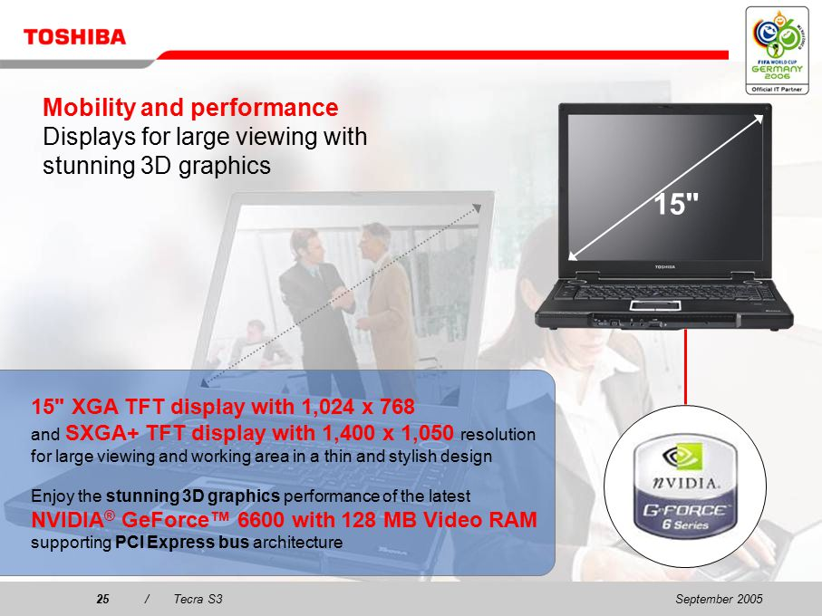 September 200524/Tecra S3 Mobility and performance Best all-round mobile performance Thanks to the latest Intel ® Centrino™ Mobile Technology including –Intel ® Pentium ® M processors, (up to 533 MHz FrontSide Bus and supporting Execute Disable Bit) –Mobile Intel ® 915PM Express chipset.
