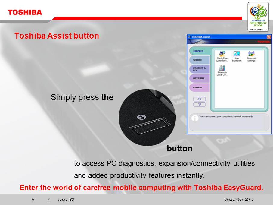September 20055/Tecra S3 New and exclusive: Toshiba EasyGuard Toshiba EasyGuard is the better way to enhanced data security, advanced system protection and easy connectivity.