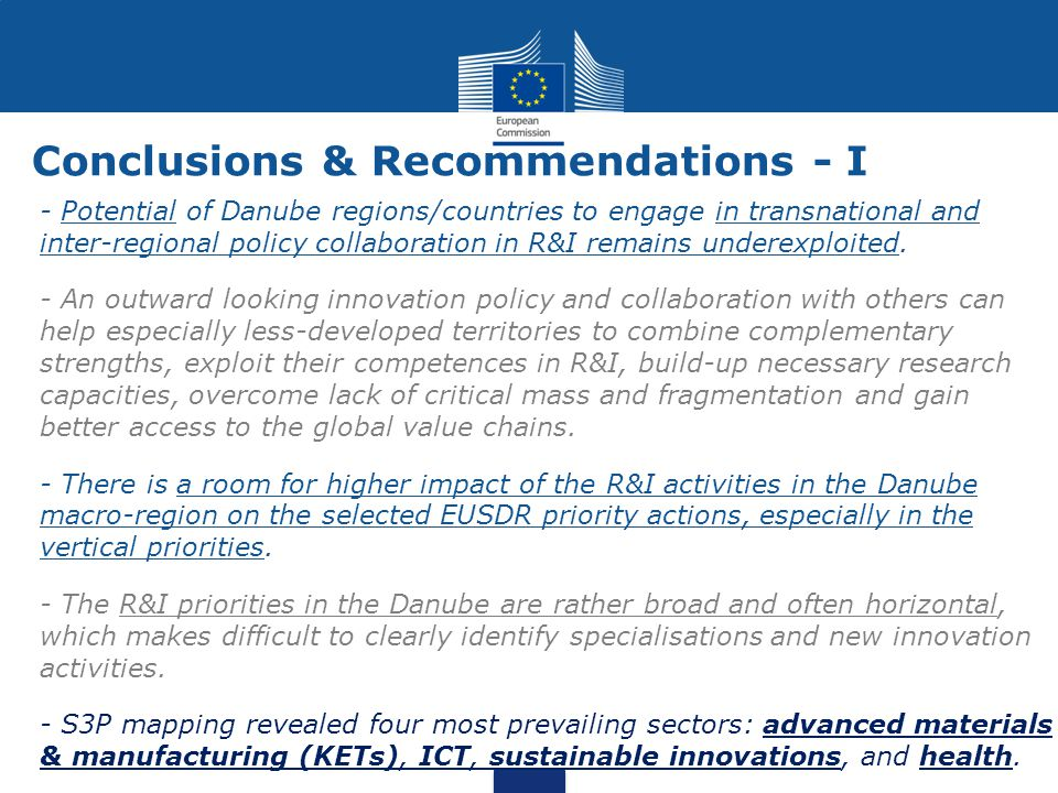 Conclusions & Recommendations - I - Potential of Danube regions/countries to engage in transnational and inter-regional policy collaboration in R&I re