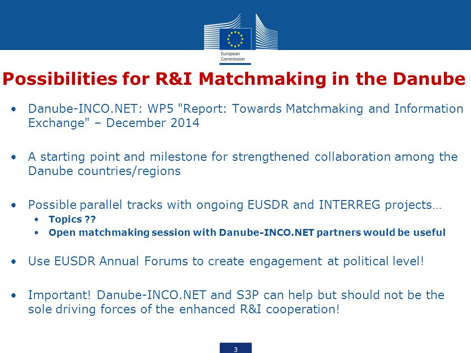 Possibilities for R&I Matchmaking in the Danube Danube-INCO.NET: WP5