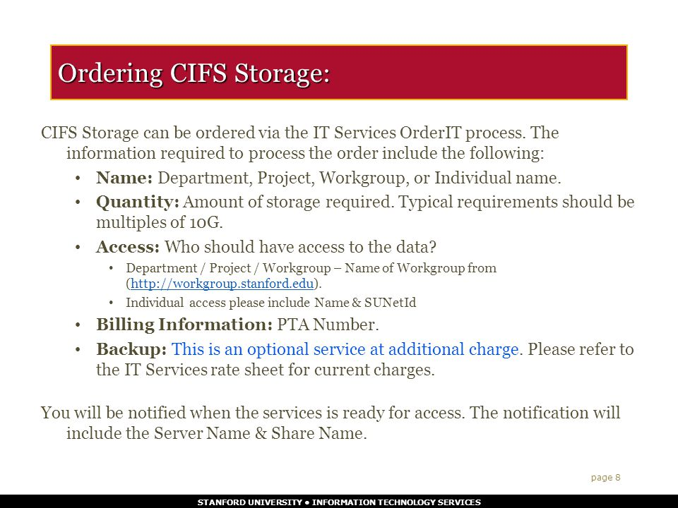 STANFORD UNIVERSITY INFORMATION TECHNOLOGY SERVICES What are some good uses for LCCS.