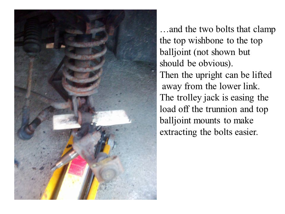 …and the two bolts that clamp the top wishbone to the top balljoint (not shown but should be obvious).