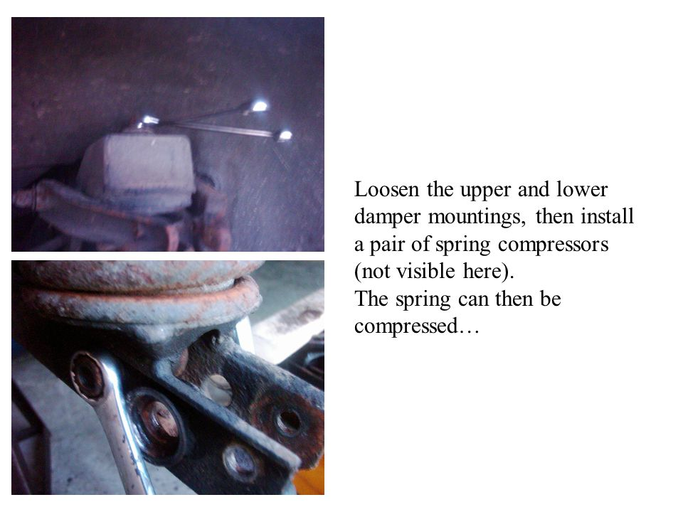 Loosen the upper and lower damper mountings, then install a pair of spring compressors (not visible here).