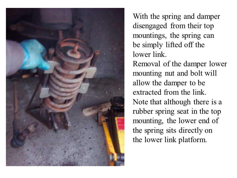 With the spring and damper disengaged from their top mountings, the spring can be simply lifted off the lower link. Removal of the damper lower mounti