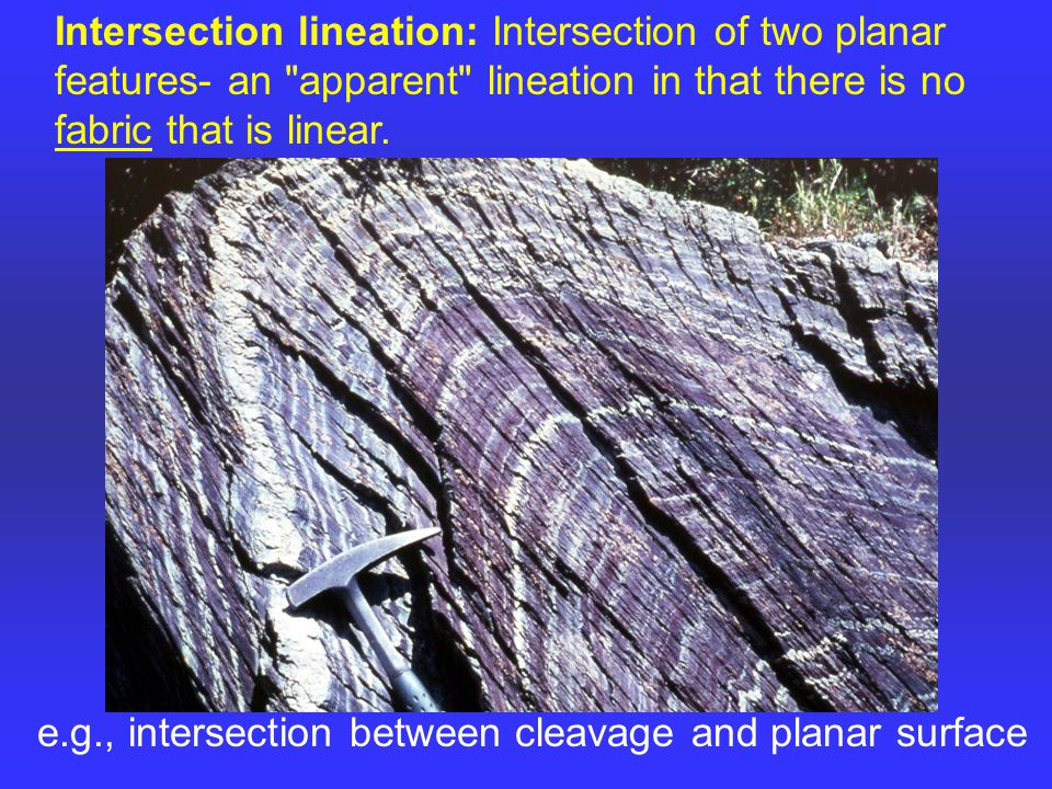 Intersection lineation: Intersection of two planar features- an apparent lineation in that there is no fabric that is linear.