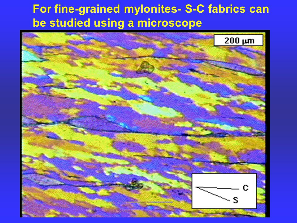 For fine-grained mylonites- S-C fabrics can be studied using a microscope