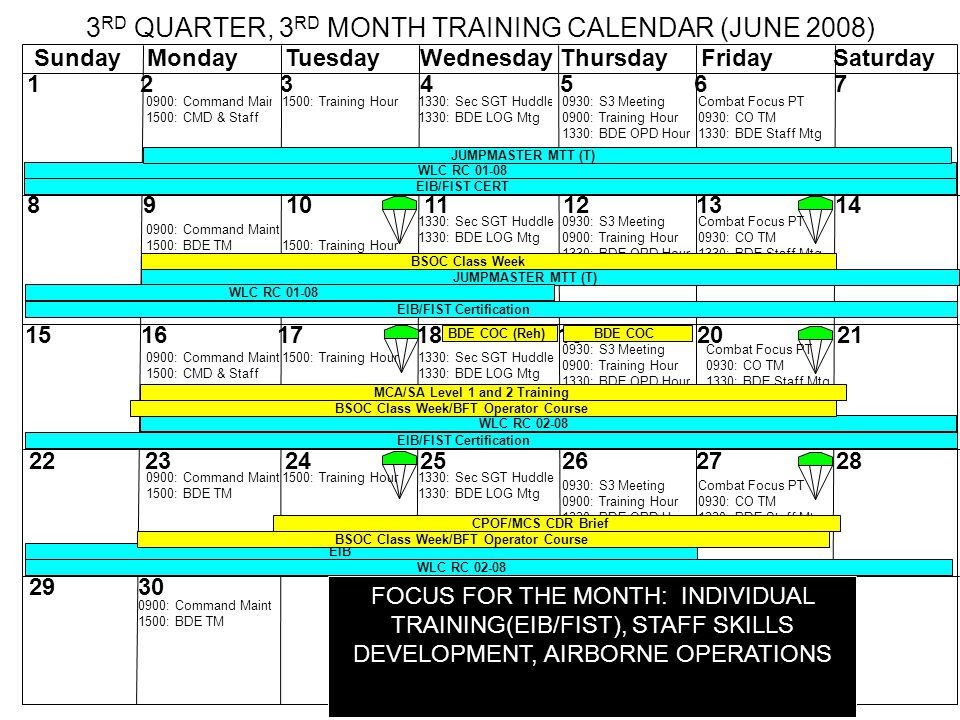 0900: Command Maint 1500: CMD & Staff 1500: Training Hour1330: Sec SGT Huddle 1330: BDE LOG Mtg Combat Focus PT 0930: CO TM 1330: BDE Staff Mtg Combat