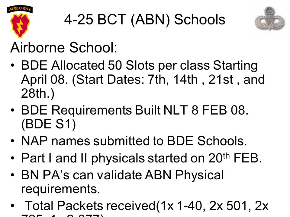 4-25 BCT (ABN) Schools Airborne School: BDE Allocated 50 Slots per class Starting April 08. (Start Dates: 7th, 14th, 21st, and 28th.) BDE Requirements