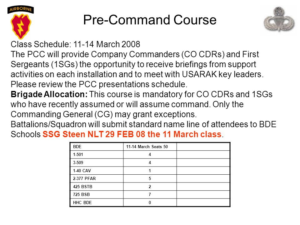 Pre-Command Course Class Schedule: 11-14 March 2008 The PCC will provide Company Commanders (CO CDRs) and First Sergeants (1SGs) the opportunity to re