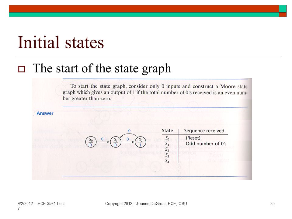 Initial states  The start of the state graph 9/2/2012 – ECE 3561 Lect 7 Copyright 2012 - Joanne DeGroat, ECE, OSU25