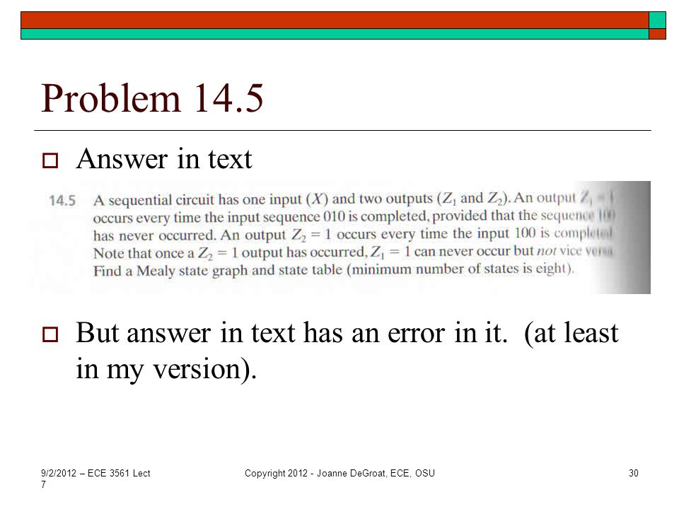 Problem 14.5  Answer in text  But answer in text has an error in it.