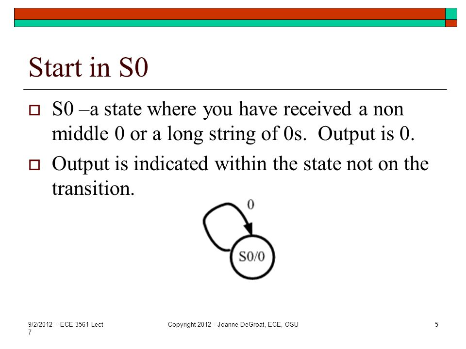 Transitions form state 1  On a 0 you stay in state 1  On a 1 you transition to state S1.