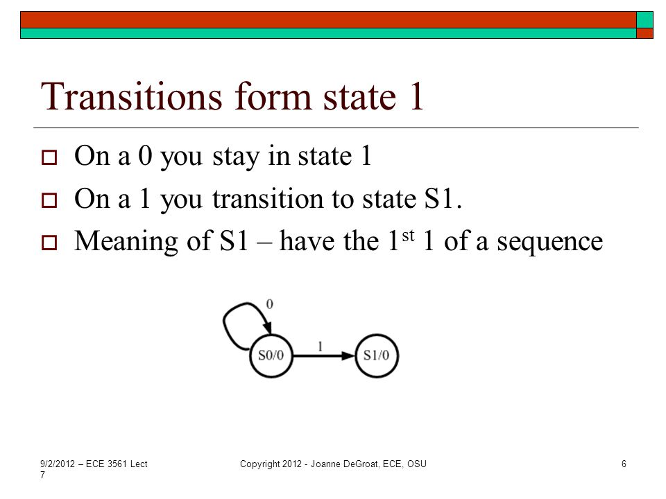 Transitions form state 1  On a 0 you stay in state 1  On a 1 you transition to state S1.