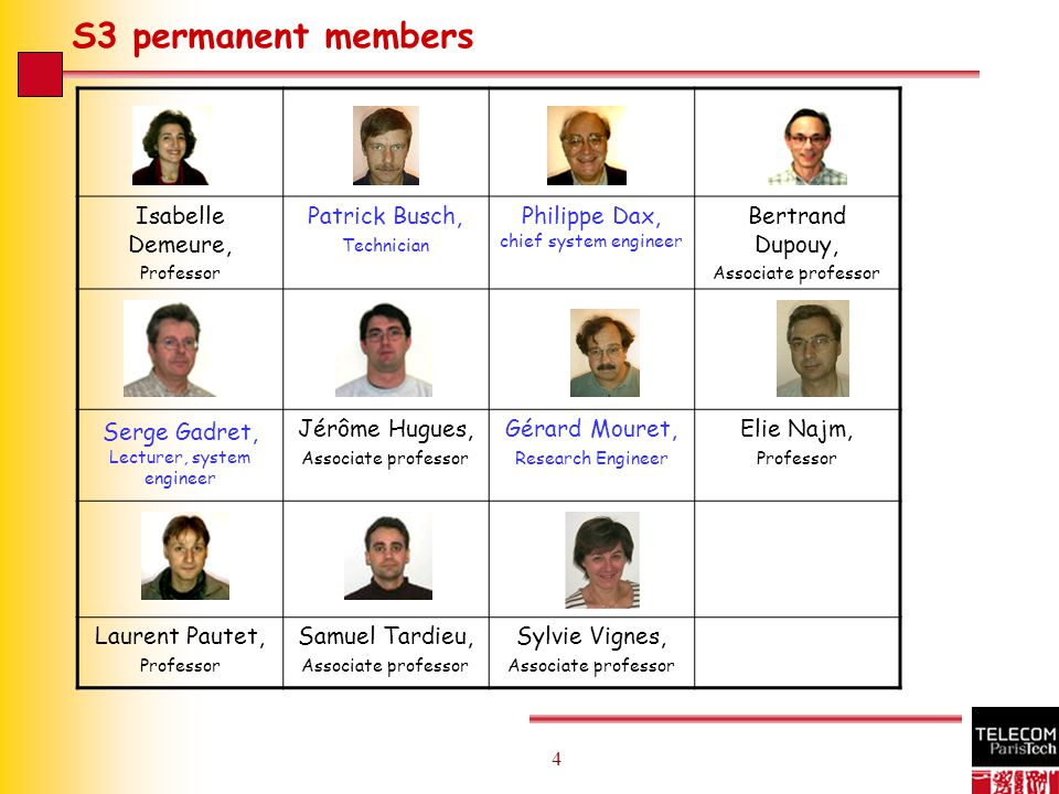 4 4 S3 permanent members Isabelle Demeure, Professor Patrick Busch, Technician Philippe Dax, chief system engineer Bertrand Dupouy, Associate professor Serge Gadret, Lecturer, system engineer Jérôme Hugues, Associate professor Gérard Mouret, Research Engineer Elie Najm, Professor Laurent Pautet, Professor Samuel Tardieu, Associate professor Sylvie Vignes, Associate professor