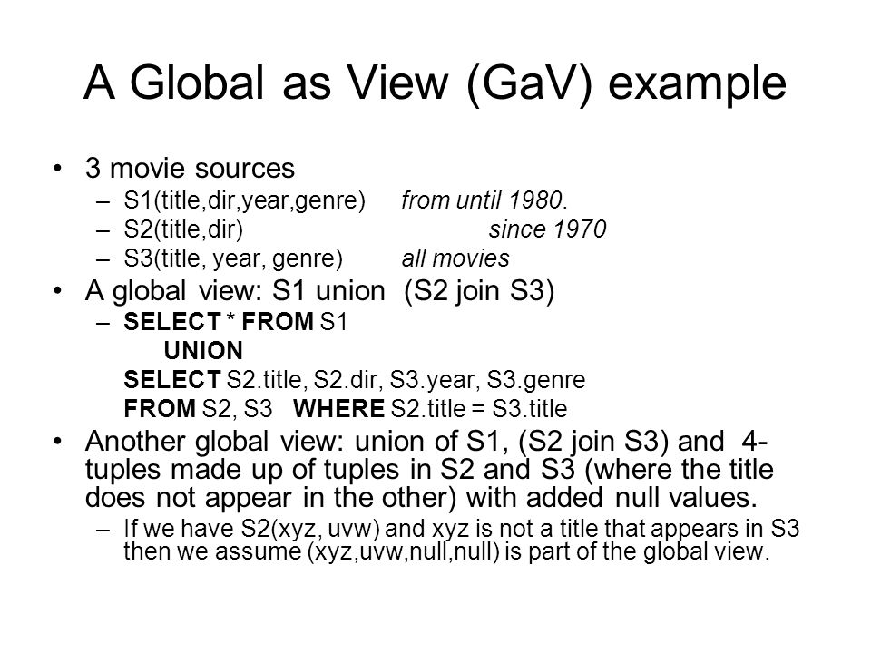 A Global as View (GaV) example 3 movie sources –S1(title,dir,year,genre) from until 1980.