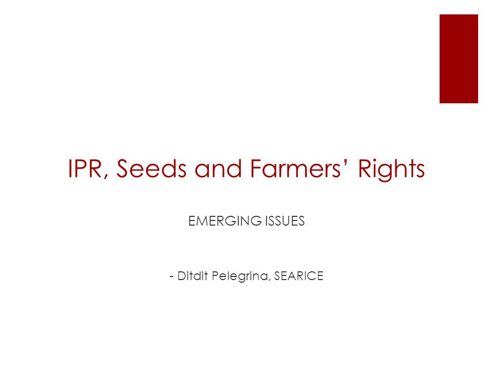 IPR (intellectual property rights) on seeds  Exclusive proprietary rights on seeds  Argued as driving force for innovation and pre-condition for investments  Japan-Philippines; US-Philippines - with conditions on patent and plant variety protection  US-Singapore: patent protection for transgenic plants and animals  US-Morroco: patent protection for plants and animals  US-Vietnam: plant variety protection  Comes in different forms - patents, plant variety protection, geographic indication