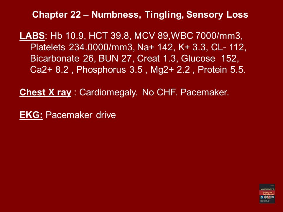 LABS: Hb 10.9, HCT 39.8, MCV 89,WBC 7000/mm3, Platelets 234.0000/mm3, Na+ 142, K+ 3.3, CL- 112, Bicarbonate 26, BUN 27, Creat 1.3, Glucose 152, Ca2+ 8.2, Phosphorus 3.5, Mg2+ 2.2, Protein 5.5.