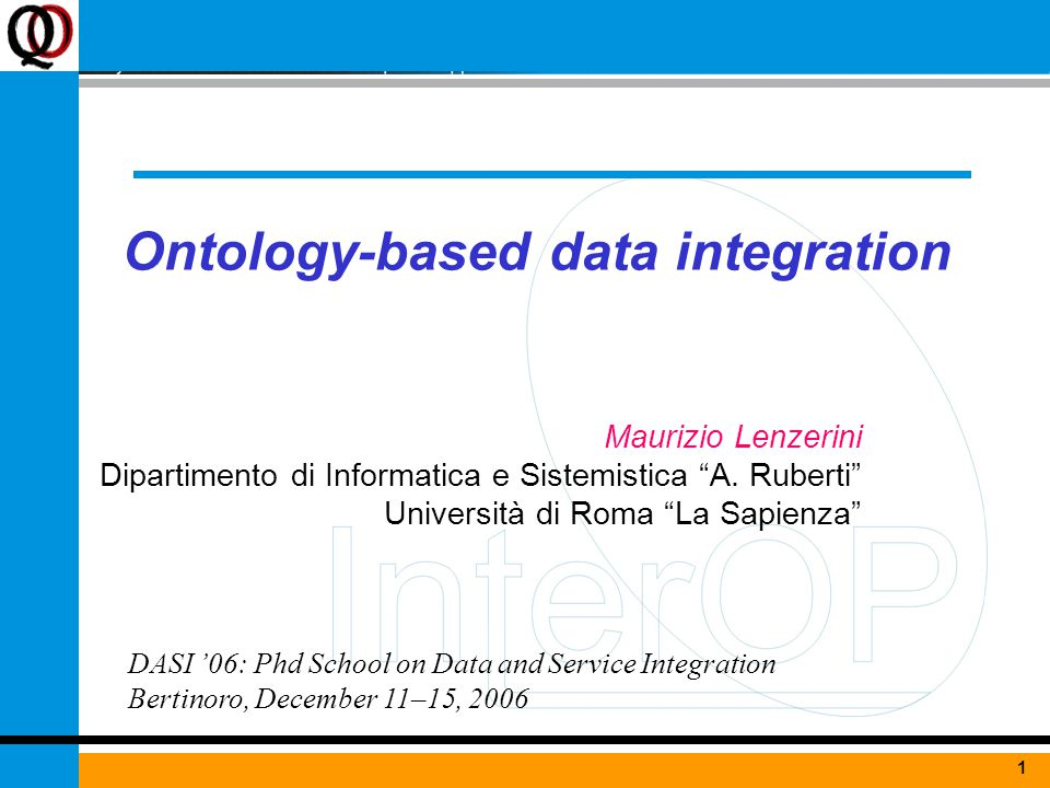 1June 7, 2004Ontologies for interoperability1 Ontology-based data integration Maurizio Lenzerini Dipartimento di Informatica e Sistemistica A.