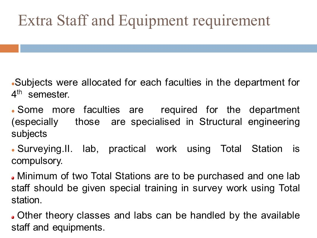 Extra Staff and Equipment requirement Subjects were allocated for each faculties in the department for 4 th semester.