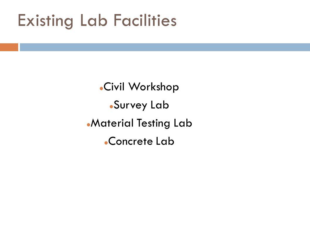 Existing Lab Facilities Civil Workshop Survey Lab Material Testing Lab Concrete Lab