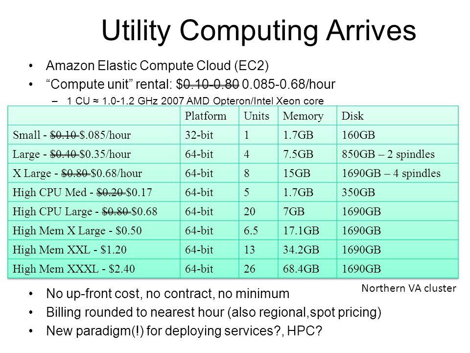 "Utility Computing Arrives Amazon Elastic Compute Cloud (EC2) ""Compute unit"" rental: $0.10-0.80 0.085-0.68/hour –1 CU ≈ 1.0-1.2 GHz 2007 AMD Opteron/In"
