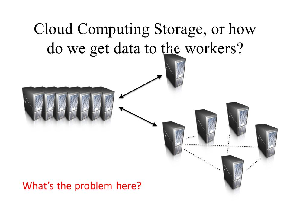 Cloud Computing Storage, or how do we get data to the workers? Compute Nodes NAS SAN What's the problem here?