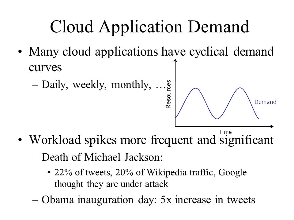 Cloud Application Demand Many cloud applications have cyclical demand curves –Daily, weekly, monthly, … Workload spikes more frequent and significant –Death of Michael Jackson: 22% of tweets, 20% of Wikipedia traffic, Google thought they are under attack –Obama inauguration day: 5x increase in tweets Demand Time Resources