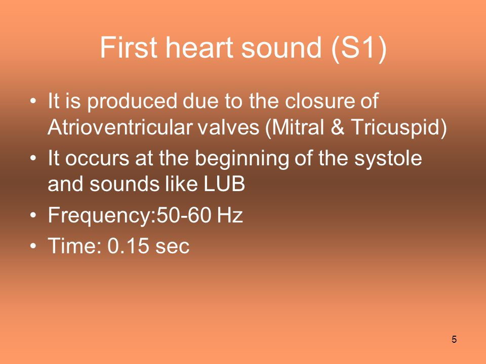 Second heart sound (S2) It is produced due to the closure of Semilunar valves (Aortic & Pulmonary) It occurs at the end of the systole and sounds like DUB Frequency:80-90 Hz [ High pitch ] Time: 0.12 sec It is short and sharp 6