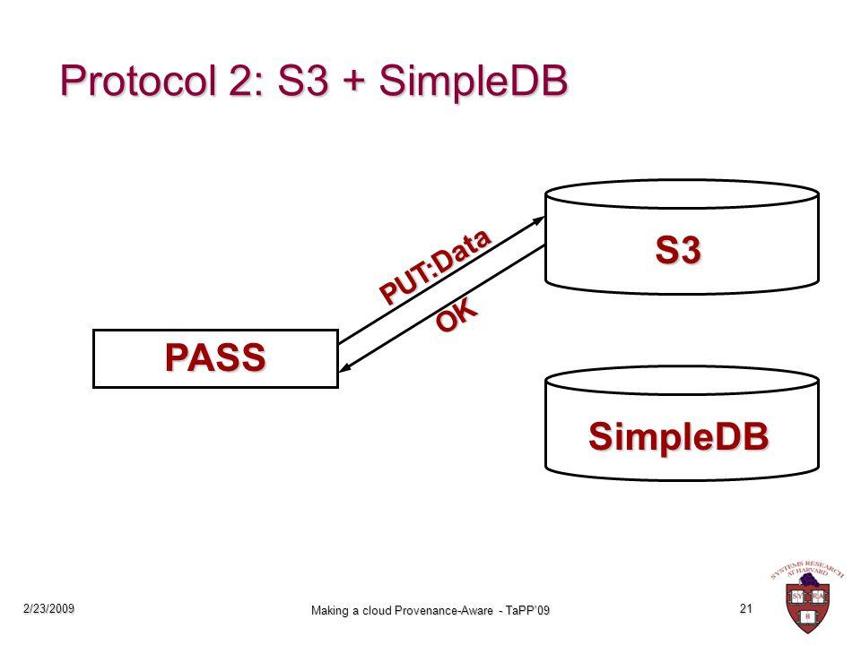 2/23/2009 Making a cloud Provenance-Aware - TaPP 09 21 Protocol 2: S3 + SimpleDB PASS S3 PUT:Data OK SimpleDB