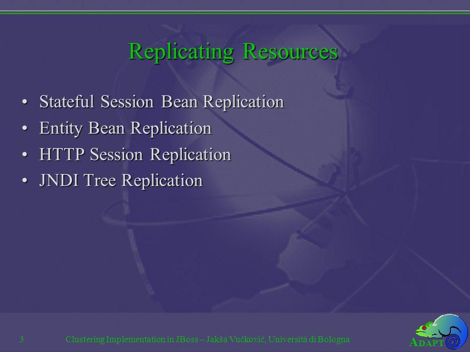 A DAPT Clustering Implementation in JBoss – Jakša Vučković, Università di Bologna3 Replicating Resources Stateful Session Bean ReplicationStateful Session Bean Replication Entity Bean ReplicationEntity Bean Replication HTTP Session ReplicationHTTP Session Replication JNDI Tree ReplicationJNDI Tree Replication