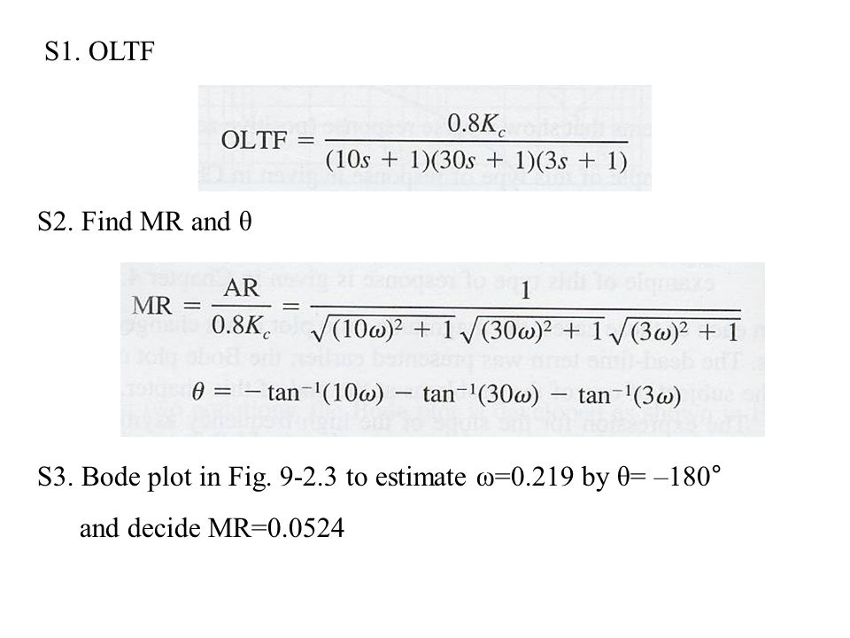S2. Find MR and θ S3. Bode plot in Fig. 9-2.3 to estimate ω=0.219 by θ= –180° and decide MR=0.0524 S1. OLTF