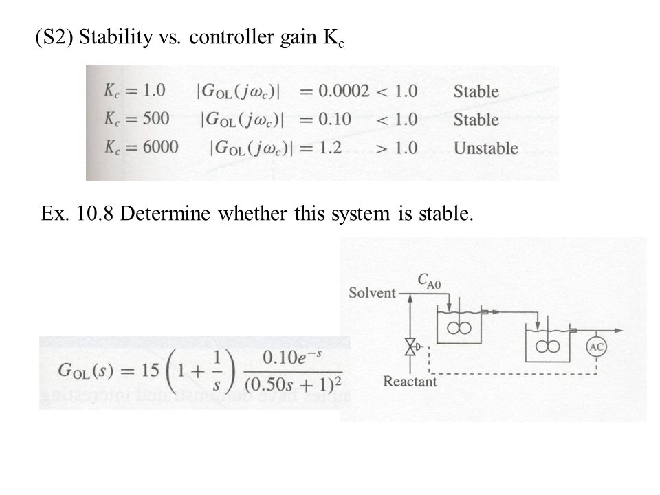 (S2) Stability vs. controller gain K c Ex. 10.8 Determine whether this system is stable.