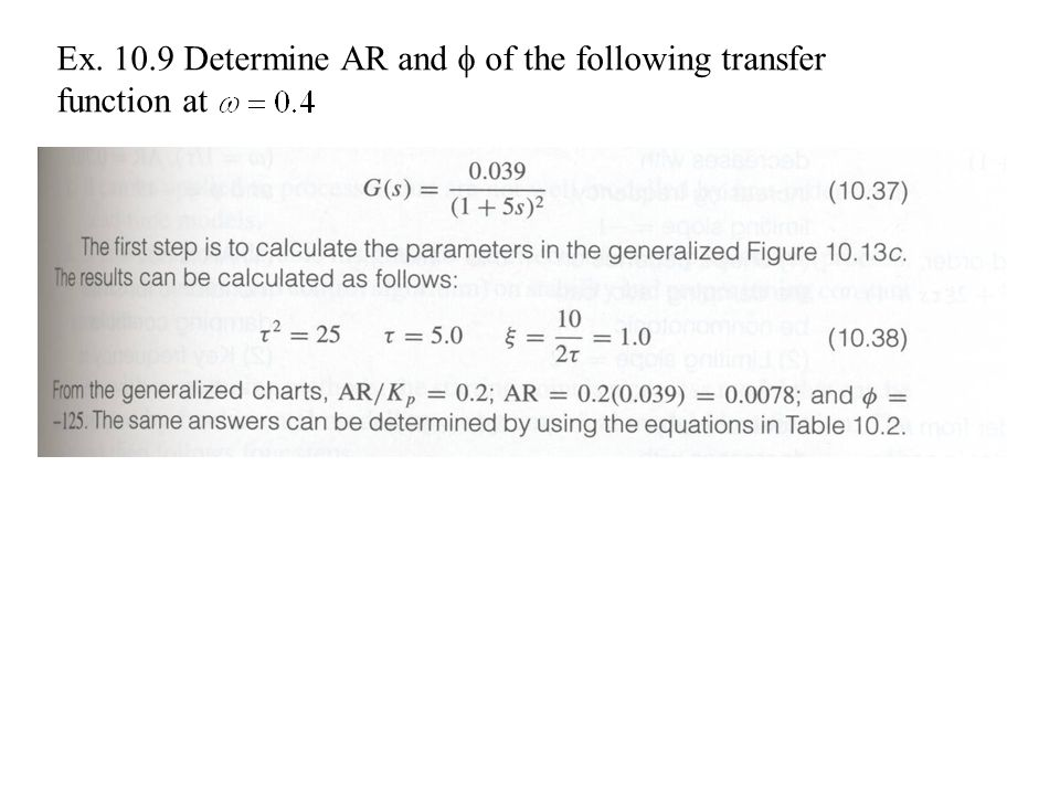 Ex. 10.9 Determine AR and  of the following transfer function at