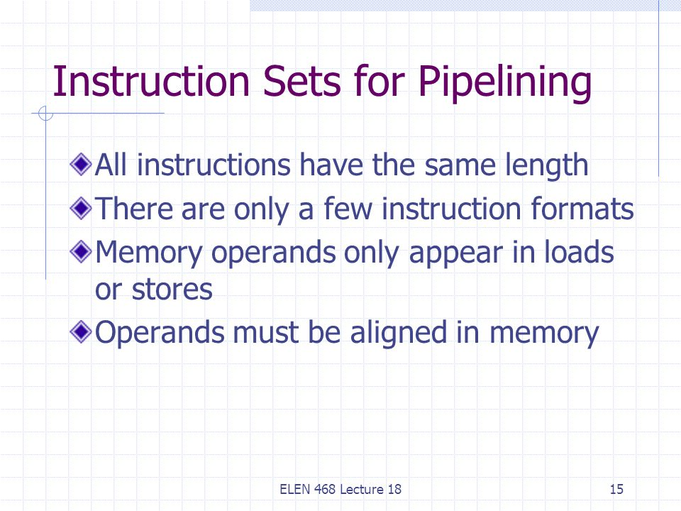 ELEN 468 Lecture 1815 Instruction Sets for Pipelining All instructions have the same length There are only a few instruction formats Memory operands only appear in loads or stores Operands must be aligned in memory