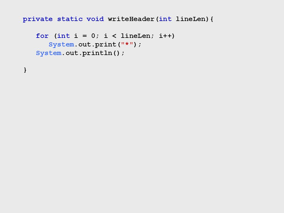 private static void writeHeader(int lineLen){ for (int i = 0; i < lineLen; i++) System.out.print(