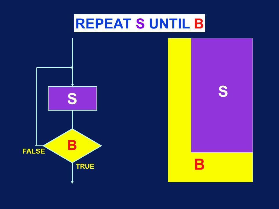 REPEAT S UNTIL B S B S B TRUE FALSE