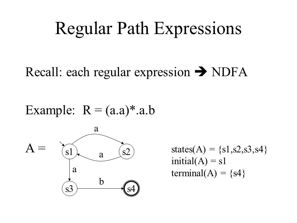 10 Regular Path Expressions Recall: each regular expression  NDFA Example: R = (a.a)*.a.b A = s1s2 s3 s4 a a a b states(A) = {s1,s2,s3,s4} initial(A) = s1 terminal(A) = {s4}