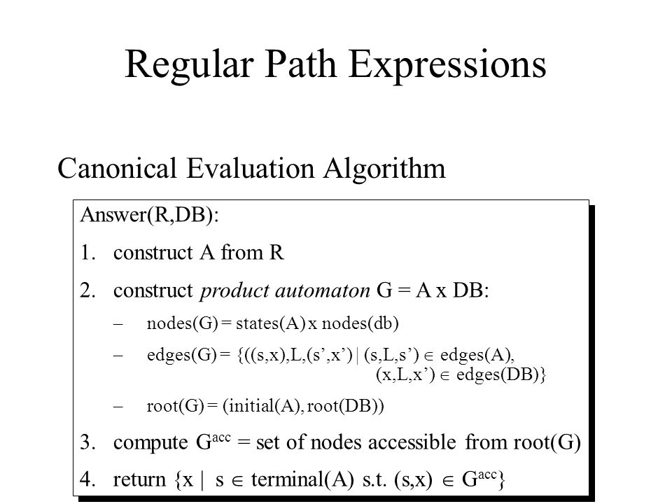11 Regular Path Expressions Canonical Evaluation Algorithm Answer(R,DB): 1.construct A from R 2.construct product automaton G = A x DB: –nodes(G) = states(A) x nodes(db) –edges(G) = {((s,x),L,(s',x') | (s,L,s')  edges(A), (x,L,x')  edges(DB)} –root(G) = (initial(A), root(DB)) 3.compute G acc = set of nodes accessible from root(G) 4.return {x | s  terminal(A) s.t.