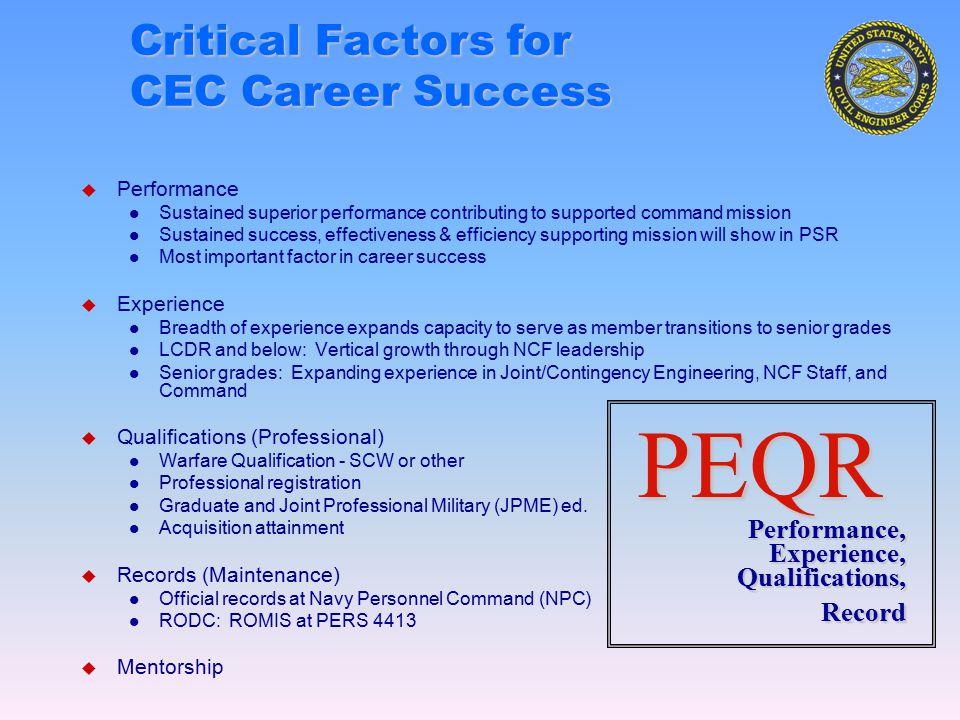 1 SELRES Civil Engineer Corps (CEC) Career Progression 6 ExperienceExperience AC1 Flag DEP CDR FIRSTNCD DEP CDR NAVFAC CAPT CO NCR 1NCD CSO NCF STAFF CSO NAVFAC CO/COS OICC NAVFAC/OICC STAFF BR MGR NRCEM/JT STAFF CDR CO NMCB CSO NCR NCF STAFF NAVFAC/OICC STAFF ELSF STAFF NRCEM/JT STAFF ENS – LTjg NMCB PHIB CB LCDR NMCB XO/S3 NCF STAFF NAVFAC OICC CSS NRCEM/JT STAFF Seabee Combat Warfare Qualification AC3 Warfare Qualification Acquisition Attainment Continuing Education Seabees FEC Staff/Joint AC2 APC Member Professional Registration EIT NCARB File Professional Engineering / Registered Architect License LT NMCB PHIB CB NAVFAC OICC CHB/ELSF CSS Combat Service Spt DCOI CECOS CBOPS Grad School/JPME Years 0 5 10 15 20 25 30 AJPME