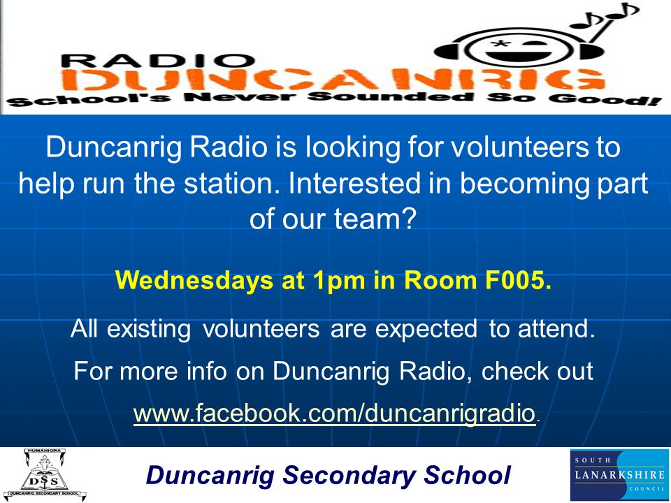 Duncanrig Secondary School Scripture Union Group The SU group meets on Tuesdays in Room D008 at 1 pm.