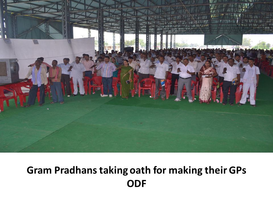 Gram Pradhans taking oath for making their GPs ODF