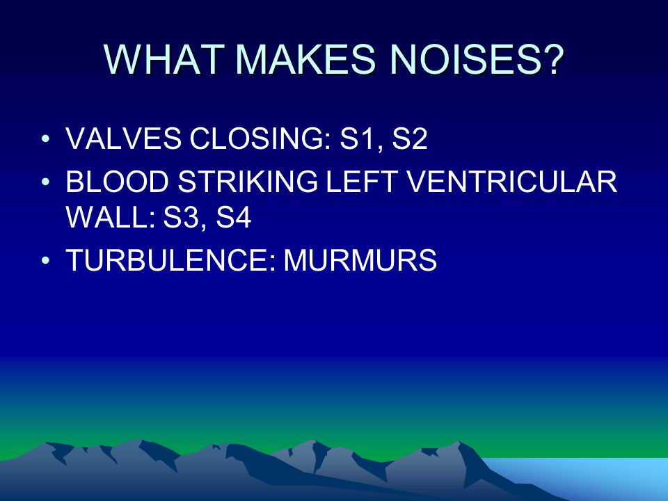 WHAT MAKES NOISES? VALVES CLOSING: S1, S2 BLOOD STRIKING LEFT VENTRICULAR WALL: S3, S4 TURBULENCE: MURMURS