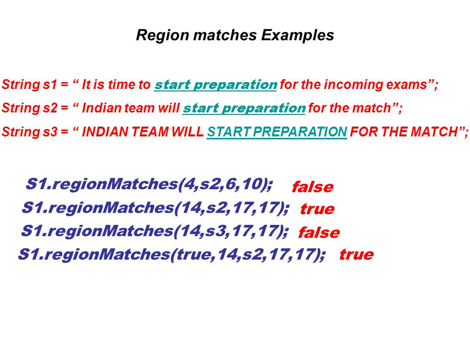 """Region matches Examples String s1 = """" It is time to start preparation for the incoming exams""""; String s2 = """" Indian team will start preparation for th"""