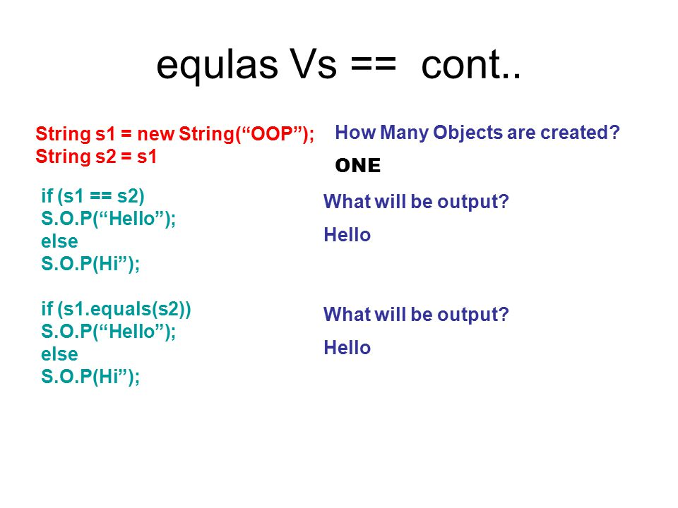 """equlas Vs == cont.. String s1 = new String(""""OOP""""); String s2 = s1 How Many Objects are created? ONE if (s1 == s2) S.O.P(""""Hello""""); else S.O.P(Hi""""); Wha"""