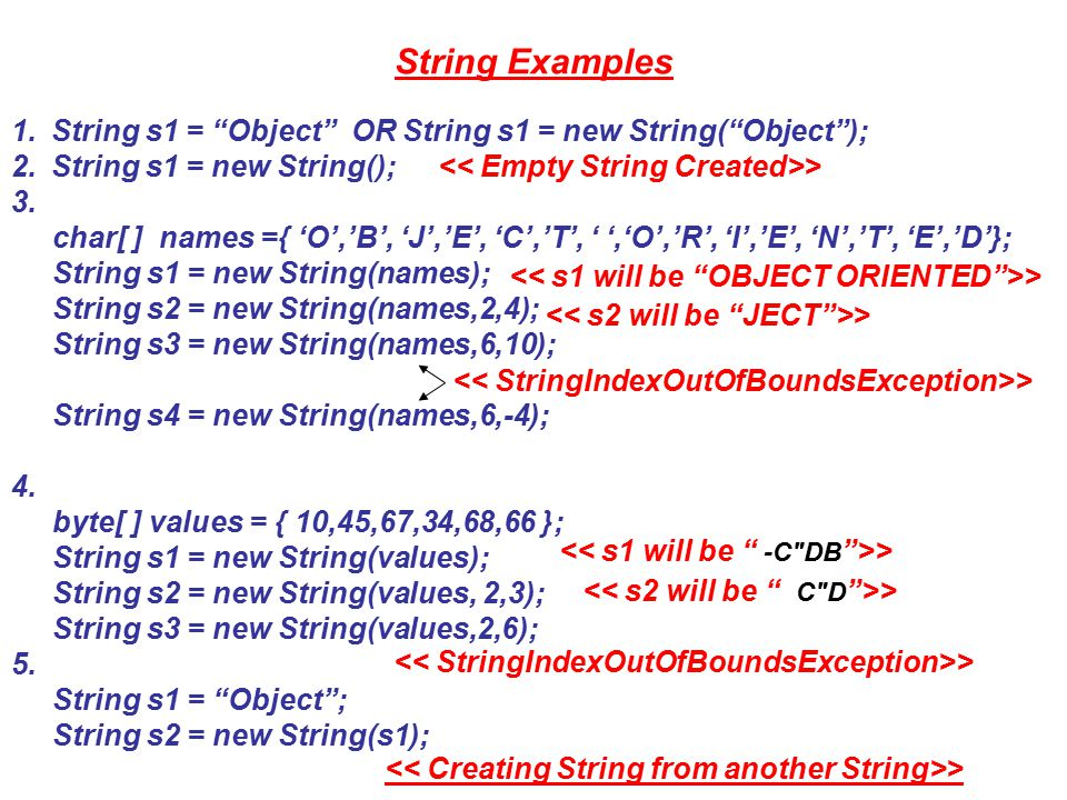 String Examples cont..