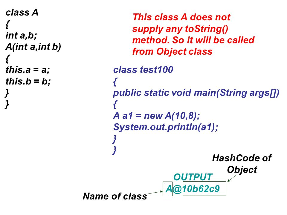 class A { int a,b; A(int a,int b) { this.a = a; this.b = b; } This class A does not supply any toString() method. So it will be called from Object cla